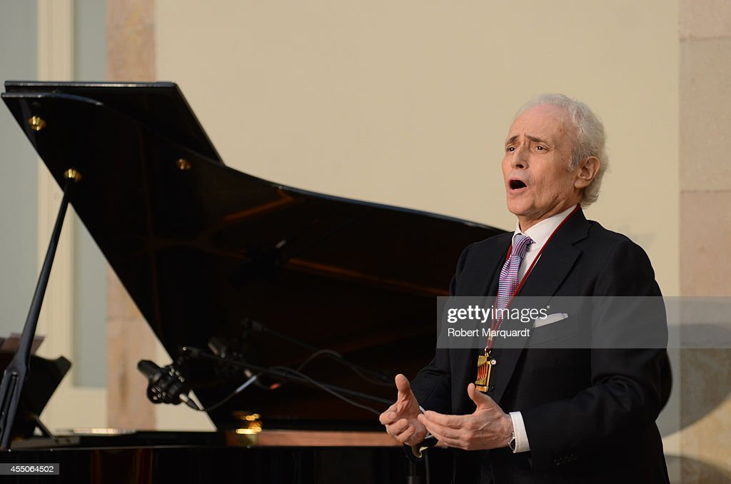 Spanish tenor Josep Carreras performs on stage at the Parliament of Catalunya on September 9, 2014 in Barcelona, Spain.
