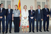 Spanish tenor Josep Carreras poses after receiving the 'Honour Medal of Catalonia Parliament' at the Parliament of Catalunya with Artur Mas and Nuria...