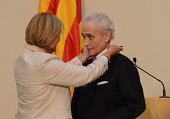 Spanish tenor Josep Carreras receives the 'Honour Medal of Catalonia Parliament' at the Parliament of Catalunya on September 9 2014 in Barcelona Spain