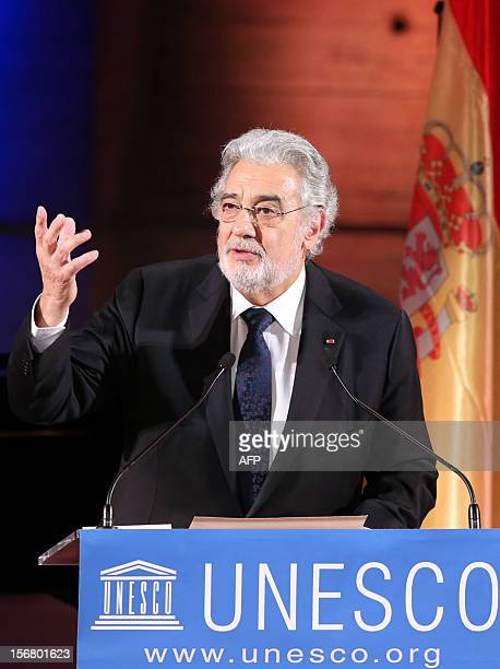 Spanish tenor Placido Domingo delivers a speech after being appointed goodwill ambassador for the Unesco on November 21 2012 at the the United...