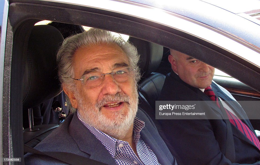Spanish tenor Placido Domingo is released from the hospital where he was treated for a pulmonary embolism on July 13 2013 in Madrid Spain