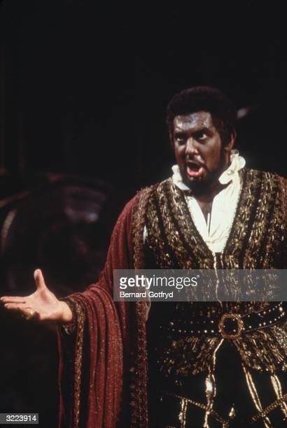 Spanish tenor Placido Domingo performing in Verdi's opera 'Otello'