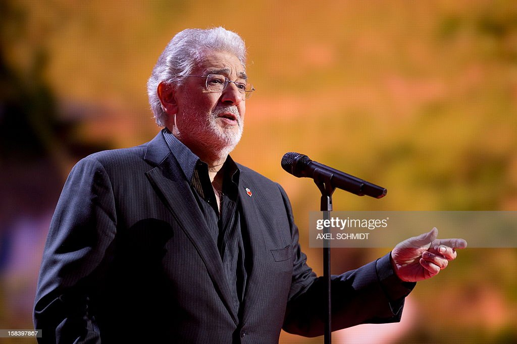 """Spanish tenor Placido Domingo performs during the charity gala 'Ein Herz fuer Kinder' (A Heart for Children) on December 15, 2012 in Berlin. This gala is the German major television fundraising gala organized by the """"BILD hilft e.V."""" association helping children in Germany and around the world."""