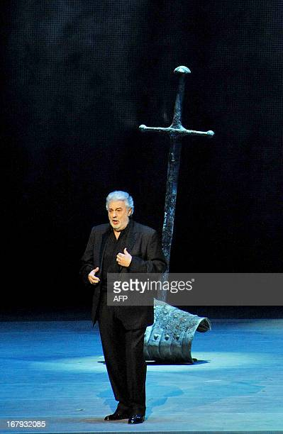 Spanish tenor Placido Domingo sings during a dress rehearsal on May 1 2013 before the Grand gala dedicated to the opening of the new stage Mariinsky...