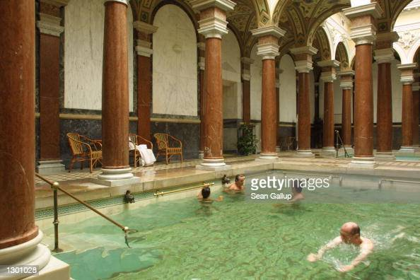 Spanish tourists enjoy a bath in the Roman Spa August 7 2002 in the spa town of Marianske Lazne Czech Republic Marianske Lazne known for its...