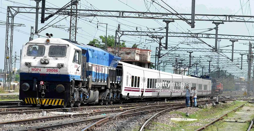 Spanish train Talgo during its first trial run between Bareilly and Moradabad on May 29, 2016 in Bareilly, India. The trial of Spanish train Talgo, the lighter and faster vehicle with speed up to 115 km per hour, was conducted between Bareilly and Moradabad in Uttar Pradesh as part of the Railways' strategy to increase the speed of trains. Nine Talgo coaches were hauled by a 4,500 HP diesel engine on the 90-km line for the first trial run.