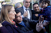 Spanish Transport Minister Ana Pastor inaugurates an AVE train station in Vigo northwestern spain on March 30 2015