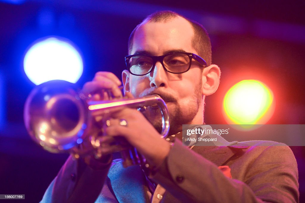 Spanish trumpeter Raynold Colom performs on stage with Michael Janisch & Aruan Oritz Quintet during the London Jazz Festival 2012 on November 10, 2012 in London, United Kingdom.