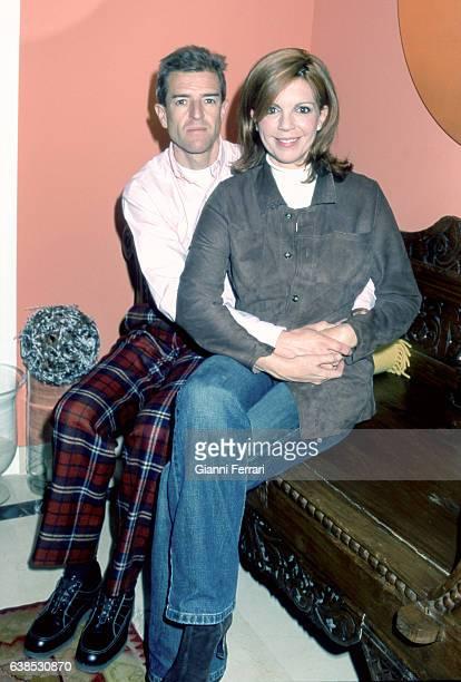 Spanish TV presenter Belinda Washington with her husband Luis Lazaro Madrid Spain