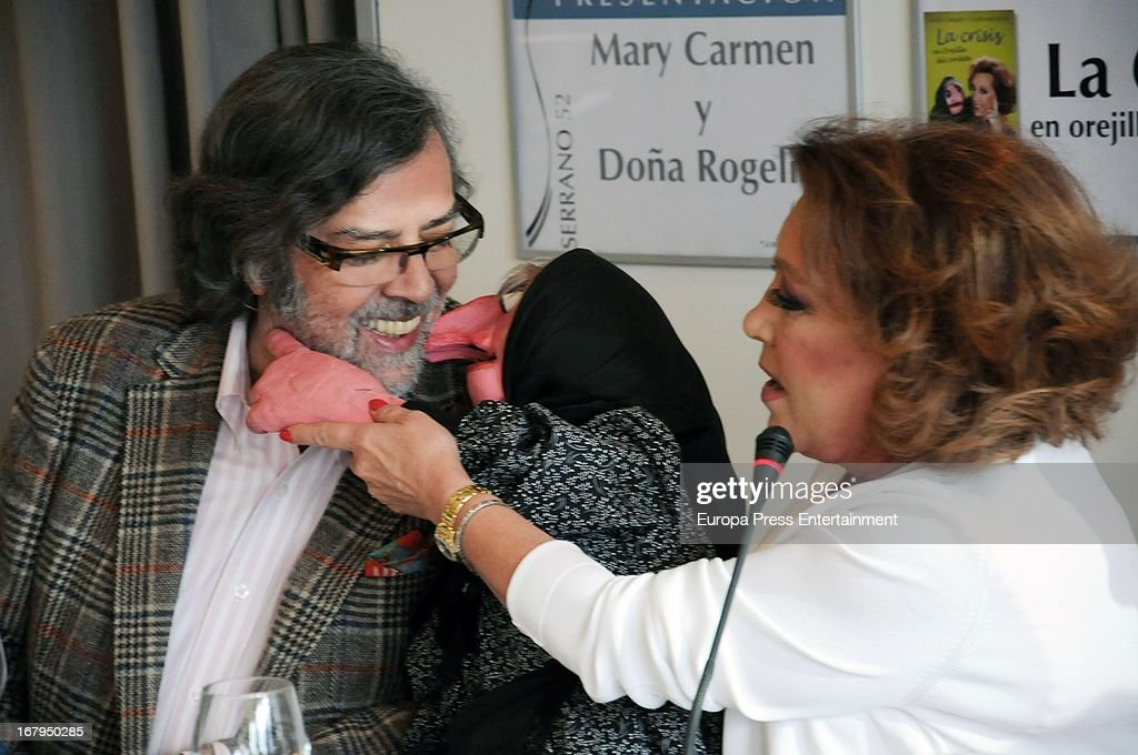 Spanish ventriloquist Mari Carmen and her doll Dona Rogelia present the book 'La Crisis En Orejilla Del Sordete' on April 30, 2013 in Madrid, Spain.