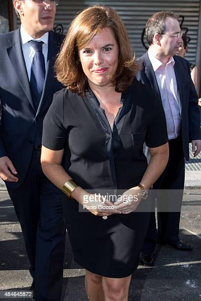 Spanish vice president Soraya Saenz de Santamaria attends the funeral chapel for Lina Morgan at 'La Latina' theatre on August 20 2015 in Madrid Spain