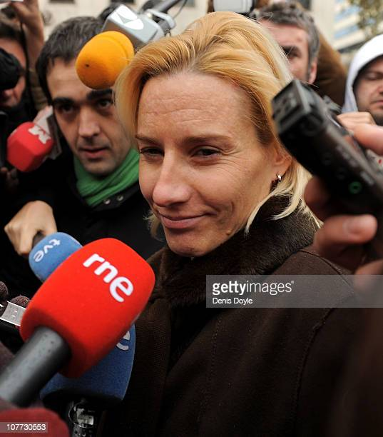 Spanish world steeplechase champion Marta Dominguez talks to the media after appearing in court for a doping investigation on December 22 2010 in...