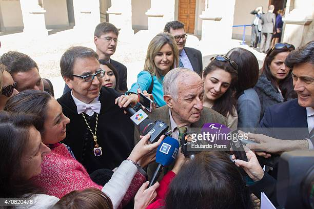 Spanish writer Juan Goytisolo winner of the Cervantes prize answers reporters before the Cervantes Prize award ceremony at Alcala de Henares...