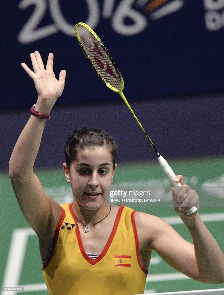 Spanish's Carolina Marin reacts after winning to Denmark's Line Kjaersfeldt during their women's simple semi-final match between Denmark and Spain during the 2016 European badminton championships, on April 30, 2016 in Mouilleron-le-Captif, western France. / AFP / JEAN