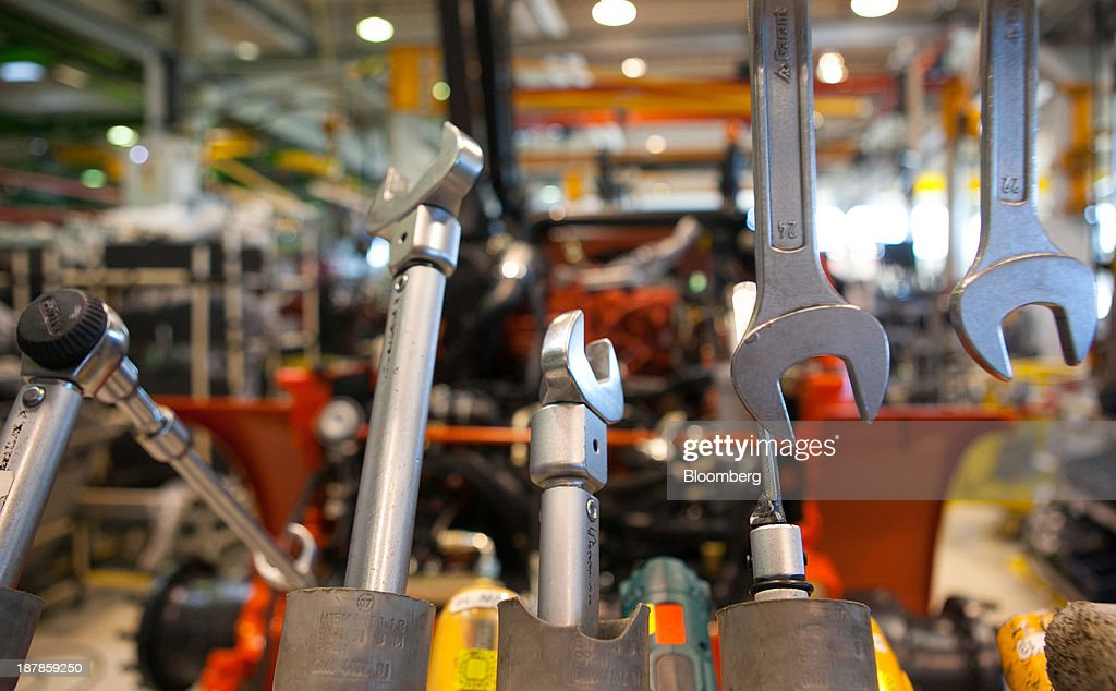 Spanners and other tools are seen on the vehicle production line at the Linde Material Handling GmbH factory, a unit of Kion Group AG, in Aschaffenburg, Germany, on Tuesday, Nov. 12, 2013. Kion Group AG, the German forklift-maker which listed shares in June, is looking to expand its global sales network via acquisitions to catch up with main competitor Toyota Industries Corp. Photographer: Krisztian Bocsi/Bloomberg via Getty Images