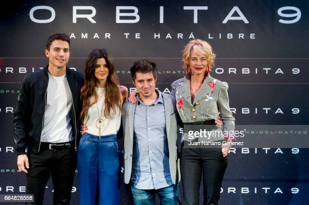 Spansih actors Alex Gonzalez and Clara Lago director Hatem Khraiche and actress Belen Rueda attend 'Orbita 9' photocall at the Telefonica Flagship...