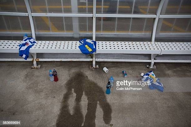 Spare kit and drinks left lying in the home team dugout at the Victoria Ground Hartlepool at halftime during a preseason friendly between Hartlepool...
