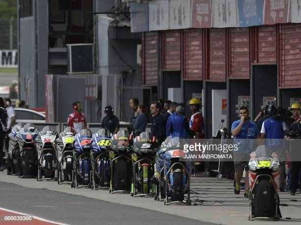 Spare motorbikes are on standby at the pit lane during the MotoGP race of the Argentina Grand Prix at Termas de Rio Hondo circuit in Santiago del...