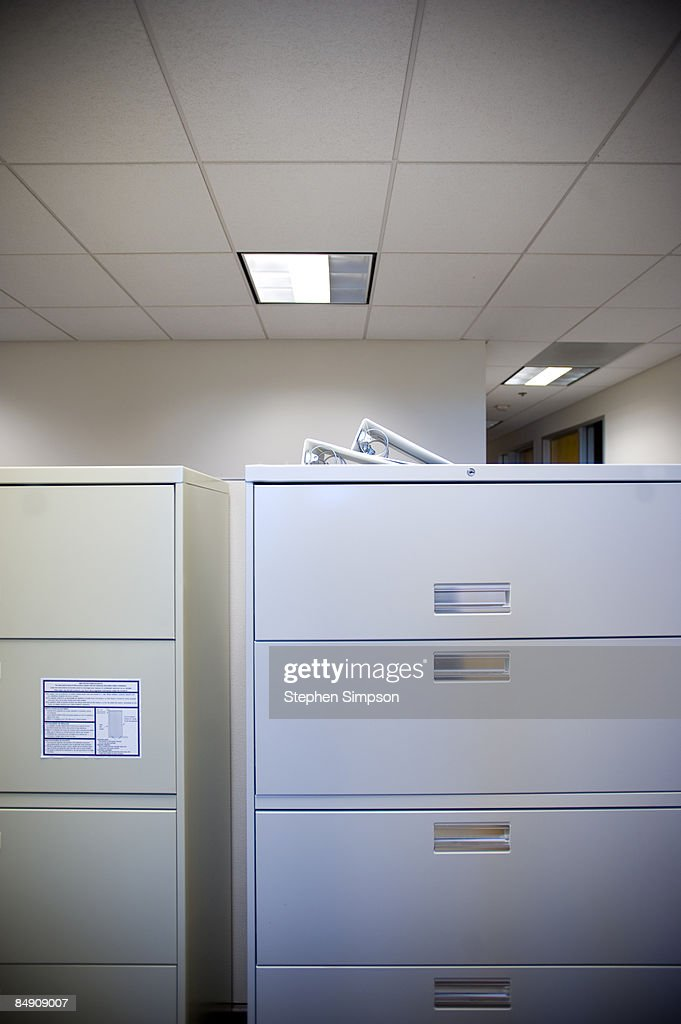 spare office landscape of file cabinets : Stock Photo