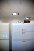 spare office landscape of file cabinets