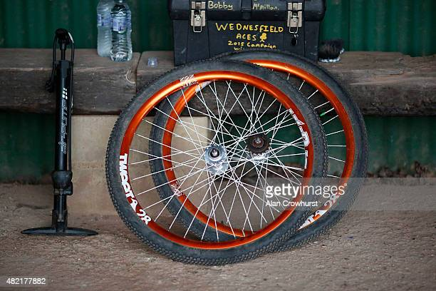 Spare wheels at the ready in the pits during the Great Britain v Australia Womens Mens Ashes Test Cycle Speedway racing on the 689 metre shale...