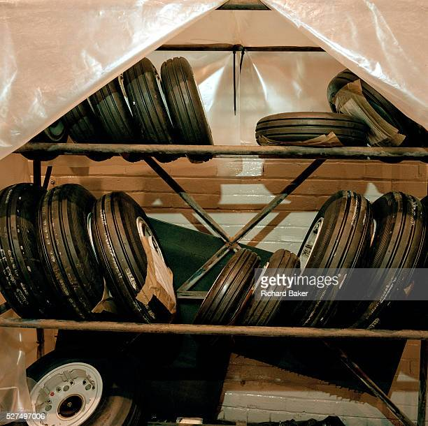 Spare wheels belonging to Hawk aircraft of the 'Red Arrows' Britain's Royal Air Force aerobatic team are stored in the teams hangar at RAF Scampton...