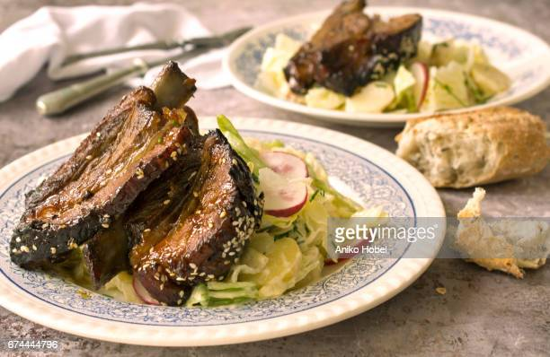 Spareribs and salad