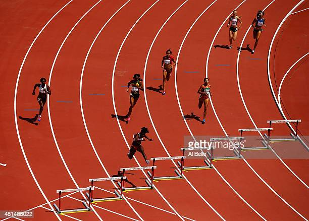 Sparkle Mc Knight of Trinidad and Tobago leads the field in the Women's 400m Hurdles at the Pan Am Games on July 21 2015 in Toronto Canada
