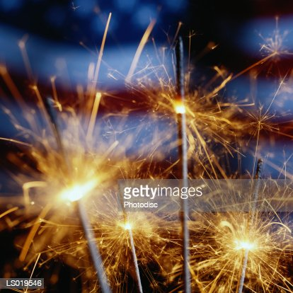 Sparklers with American Flag