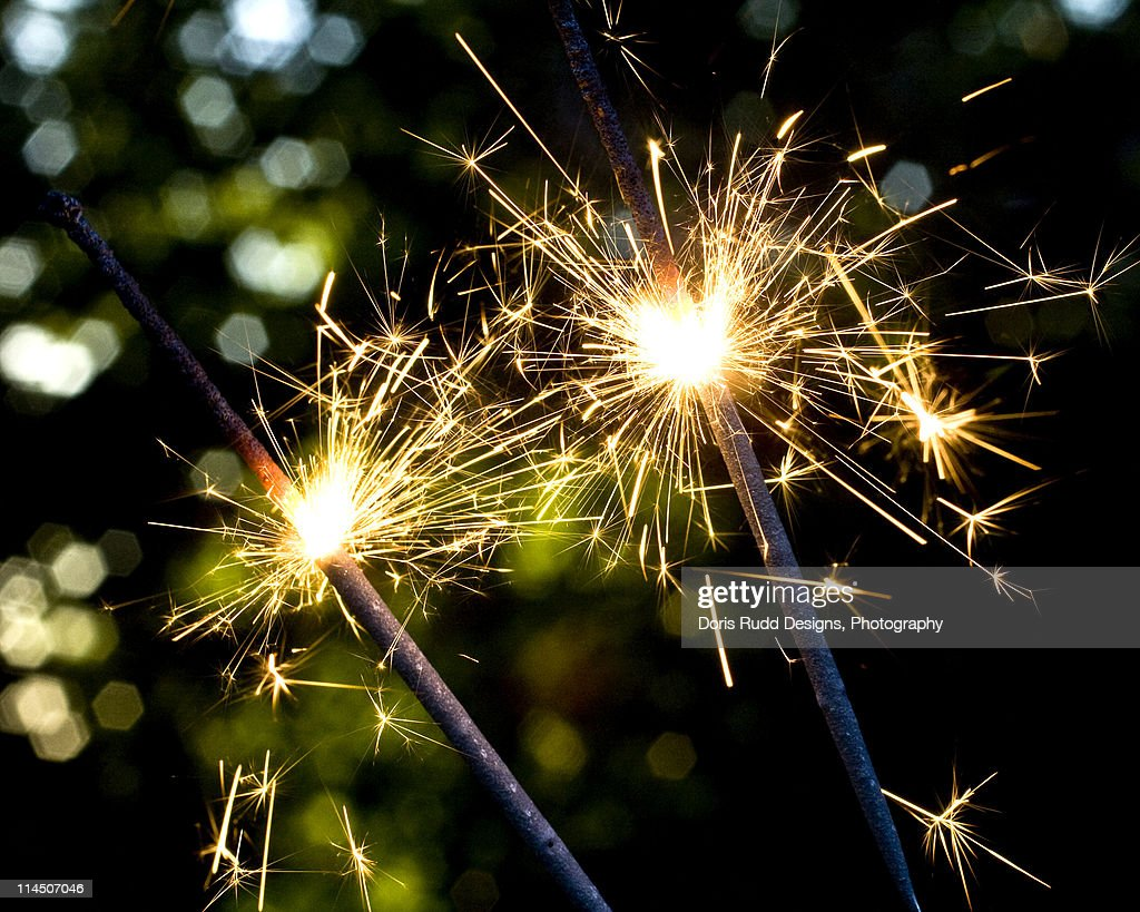 Sparklers with Bokeh Background : Stock Photo