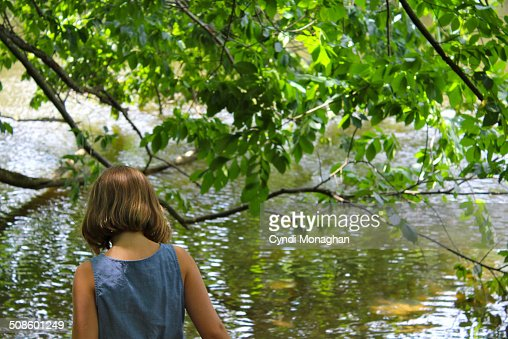 Sparkling Lake and Girl : Foto de stock