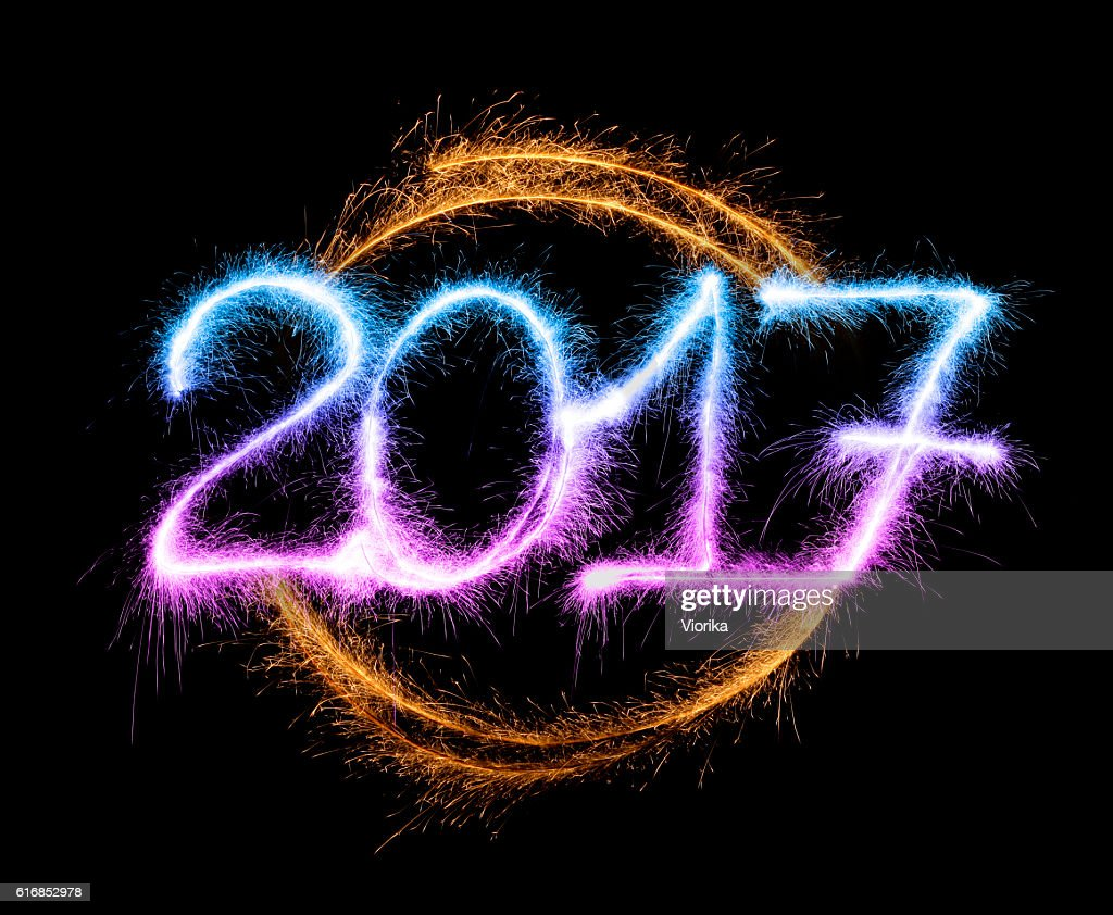 Sparkling New Year 2017 (multi colored) : Stock Photo