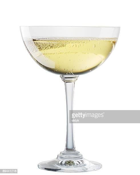 Sparkling wine chalice glass isolated on white background