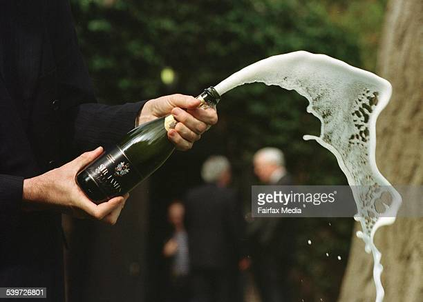 Sparkling wine spraying out of a bottle after the cork has been popped 4 September 1997 AFR Picture by BRYAN CHARLTON