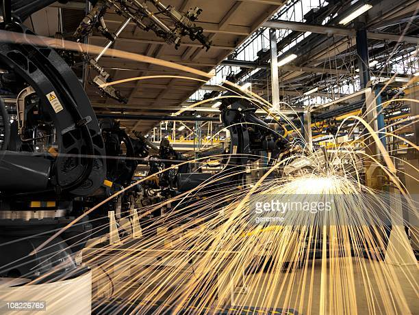 Sparks Coming Off Machine in Factory