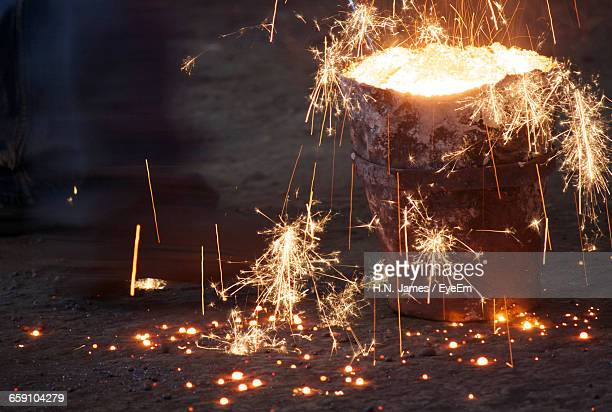 Sparks Emitting From Molten Iron