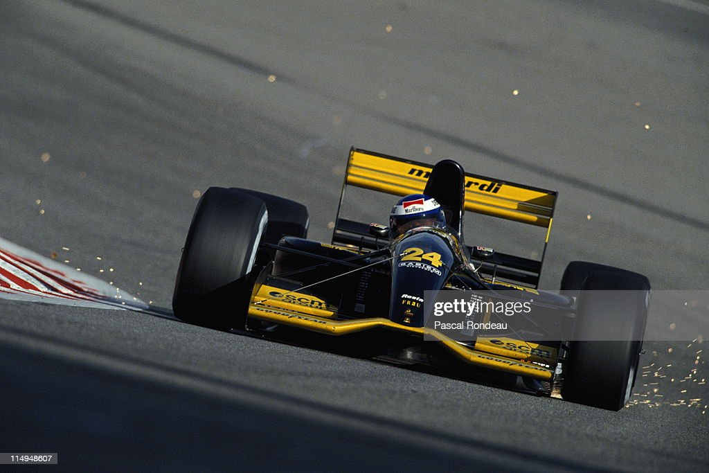 Sparks fly as Gianni Morbidelli drives the #24 Minardi Team Minardi M192 Lamborghini 3.5 V12 during the Belgian Grand Prix on 30th August 1992 at the Circuit National de Francorchamps in Spa Francorchamps, Belgium.