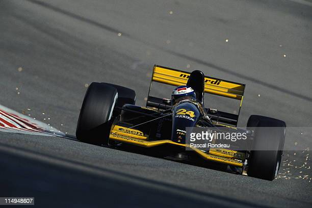 Sparks fly as Gianni Morbidelli drives the Minardi Team Minardi M192 Lamborghini 35 V12 during the Belgian Grand Prix on 30th August 1992 at the...