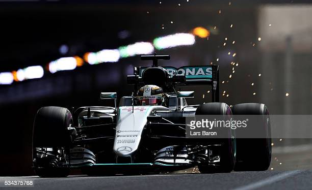 Sparks fly as Lewis Hamilton of Great Britain driving the Mercedes AMG Petronas F1 Team Mercedes F1 WO7 Mercedes PU106C Hybrid turbo on track during...