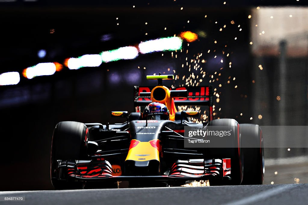 Sparks fly as Max Verstappen of the Netherlands drives the (33) Red Bull Racing Red Bull-TAG Heuer RB12 TAG Heuer on track during practice for the Monaco Formula One Grand Prix at Circuit de Monaco on May 26, 2016 in Monte-Carlo, Monaco.