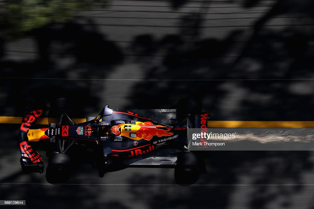 Sparks fly behind Max Verstappen of the Netherlands driving the (33) Red Bull Racing Red Bull-TAG Heuer RB13 TAG Heuer on track during practice for the Monaco Formula One Grand Prix at Circuit de Monaco on May 25, 2017 in Monte-Carlo, Monaco.