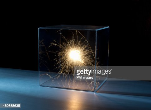 Sparks in a clear box