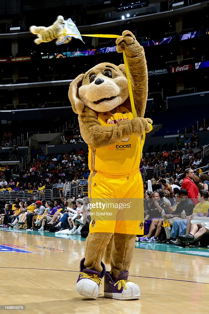Sparky, the mascot of the Los Angeles Sparks, performs during Game Two of the WNBA Western Conference Finals against the Minnesota Lynx at Staples Center on October 7, 2012 in Los Angeles, California.