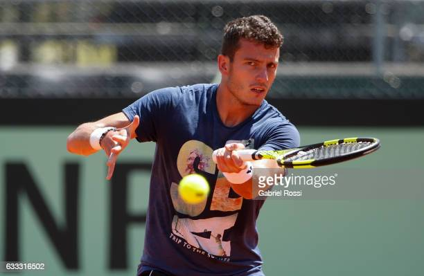 Sparring Alessandro Giannessi of Italy takes a forehand shot during a training session prior to a match between Argentina and Italy as part of Davis...