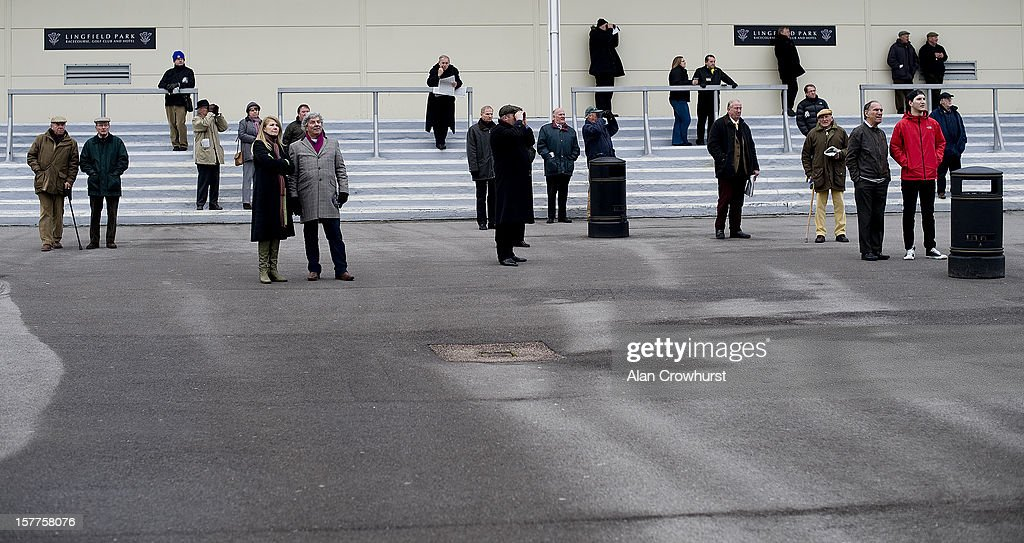 A sparse crowd watch the action at Lingfield racecourse on December 06, 2012 in Lingfield, England.
