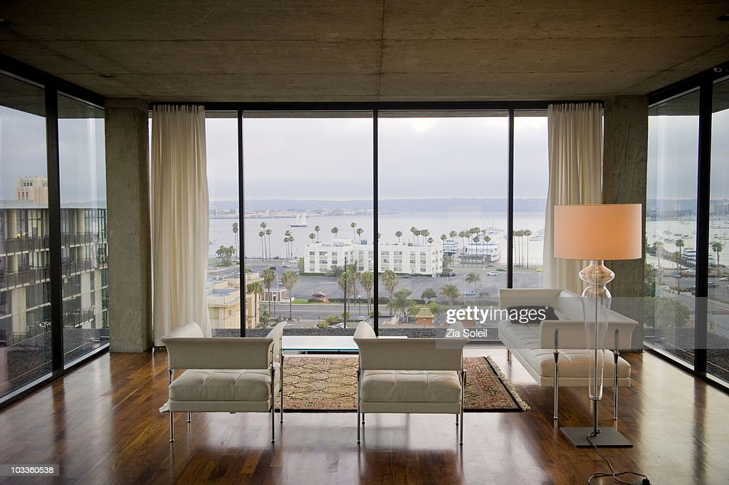 Sparse modernist living room : Stock Photo