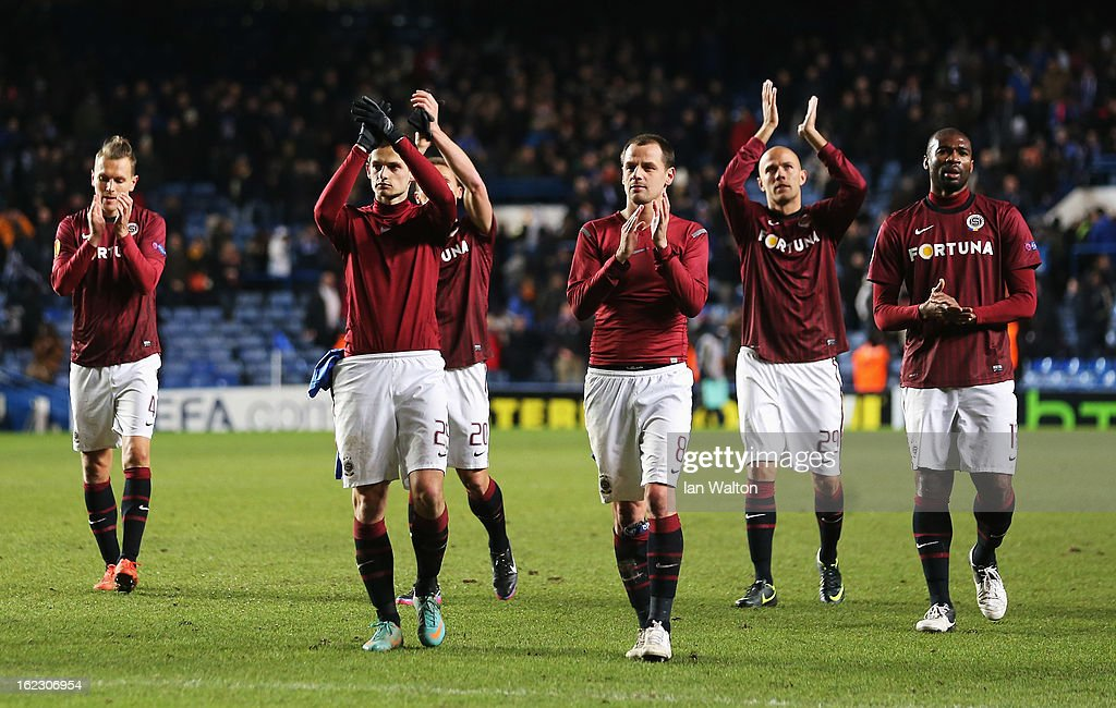 Sparta players applaud their fans after being knocked out in the UEFA Europa League Round of 32 second leg match between Chelsea and Sparta Praha at Stamford Bridge on February 21, 2013 in London, England.