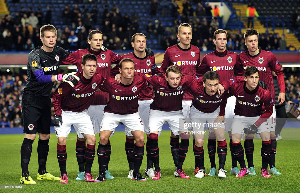 Sparta Prague team pose for a team photo before the UEFA Europa League round of 32 football match against Sparta Prague at Stamford Bridge in London, England on February 21, 2013.