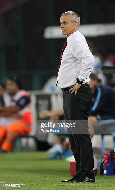 Sparta Praha head coach Vitezlav Lavicka looks on during the UEFA Europa League group I match between SSC Napoli and AC Sparta Praha at Stadio San...