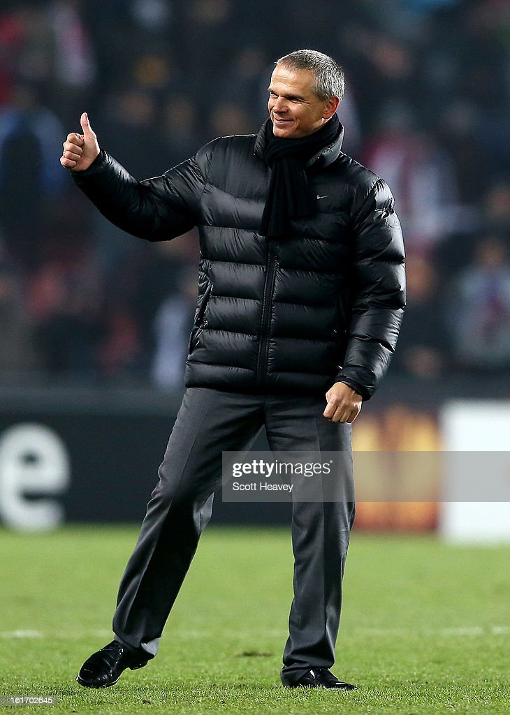 Sparta Praha manager Vitezslav Lavicka during the UEFA Europa League match between AC Sparta Praha and Chelsea on February 14, 2013 in Prague, Czech Republic.